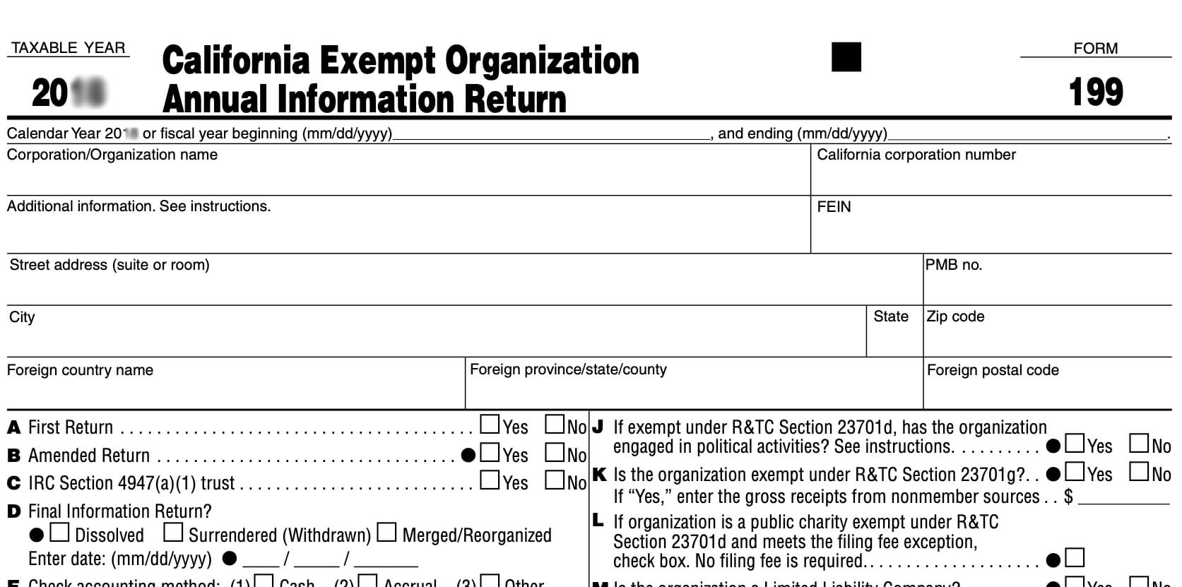Form 199 is the California exempt organization annual information return