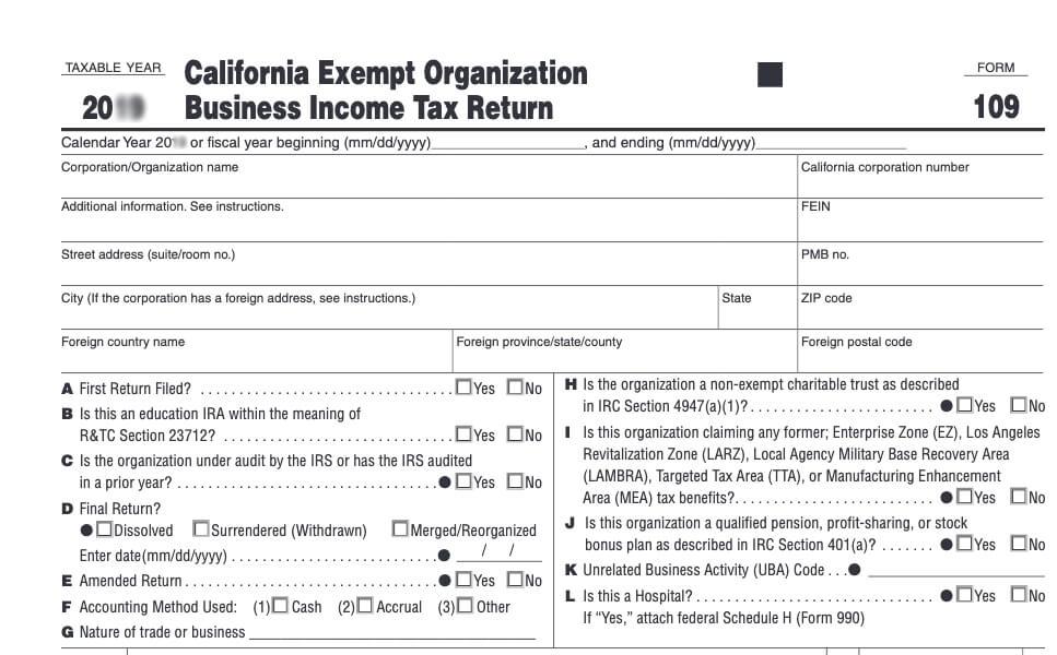 California Form 109