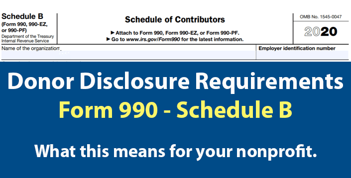 Donor Disclosure Requirements Form 990 Schedule B